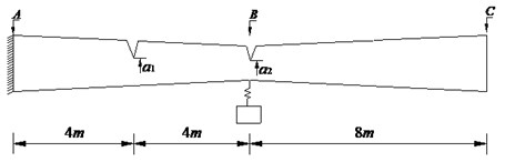 A cracked fixed-free beam with one spring-mass system