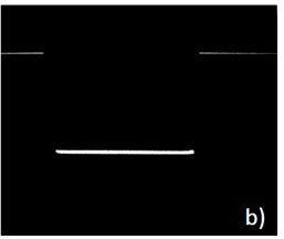 Grayscale image of the cuboid cardboard box with the laser profile (a), laser line profile after thresholding operation (b) [1]