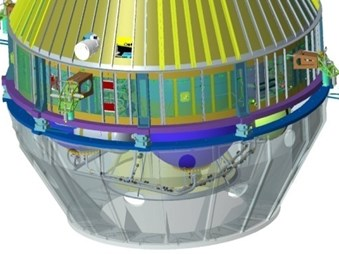 The force measuring device mounted between spacecraft and fixture