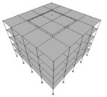 Dividing the structures of the buildings shown in Figure 1 into two inner and outer parts with various mass ratios of Min/Moutequal to a) 1/24, b) 1/8, c) 4/12 = 1/3, d) 9/16 and e) 16/20 = 4/5