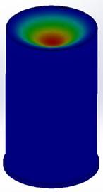 Cap modes: a) two axial 1076 Hz, b) 2353 Hz, c) bending 2379 Hz accordingly