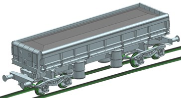 Exemplar results of the movement simulations of the wagon with the carried cargo:  a) without derailment, b) the wagon derailment