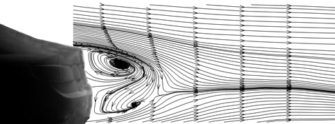 Transverse induced vortexes of model B