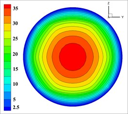 The velocity of solid phase at outlet