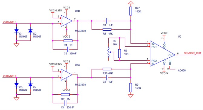 The circuit schematic of electrochemical geophone