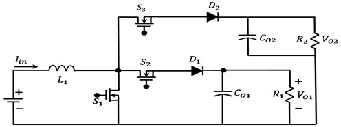 Non-isolated SIMO: a) boost converter independent output configuration [7],  b) boost converter series output configuration [7], c) BB converter series  output configuration [8], d) schematic diagram of control system