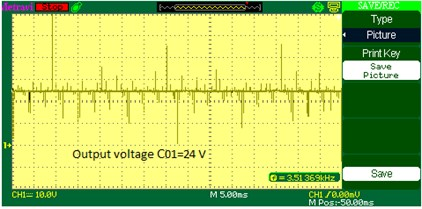 C01 output voltage waveform of DOBB converter: a) simulation b) experimental waveform