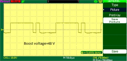 Boost voltage waveform of DOBB converter: a) simulation, b) experimental waveform PWM pulses across the switch S1 in boost mode