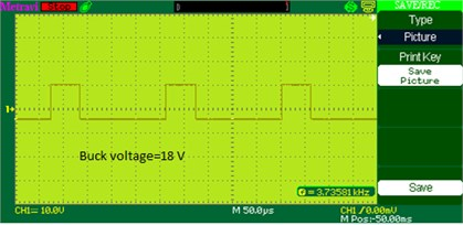 Buck voltage waveform of DOBB converter: a) simulation, b) experimental waveform PWM pulses across the switch S2 in buck mode