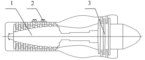 The structure diagram of the turboprop engine. 1-10 – stage axial compressor;  2 – relief valve, 3-3 – stage axial flow reaction turbine