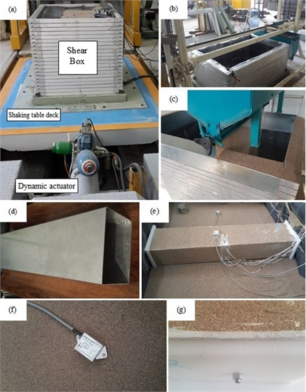 a) University of Tabriz shaking Table, b) shear box and sand pluviation device, c) sand pouring,  d) aluminum tunnel model, e) model preparation, f) 0.01 g accelerometer, g) Teflon plate and EPE foam