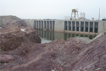 The blasting site for rock excavation of open channel on land in Taishan