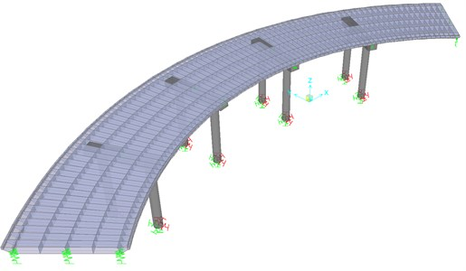 3-Dimensional view of the finite element model  of the curved bridge