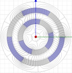 Distribution drawing of magnetic force lines at different corners