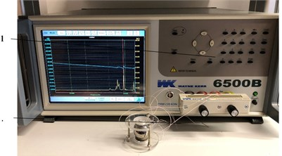 The example of setup for impedance analysis: 1 – Wayne Kerr 6500B impedance analyzer,  2 – piezoelectric deflector of the magnetic sphere