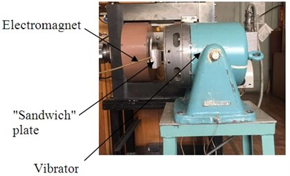 Photo of the laboratory experimental set-up for studying forced oscillations of plates