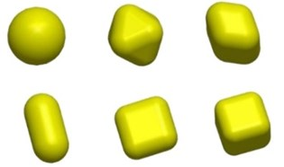 The six kinds of shapes used in simulation