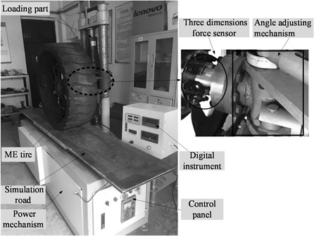 Experimental set-up for tire mechanical characteristics tests