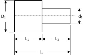 Geometry and governing dimensions of standard stepped sonotrode [4]