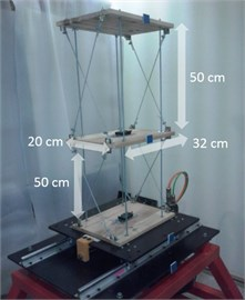 Dimensions of the model building and installation on shake table