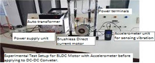 Experimental test setup of BLDC motor controller using accelerometer for vibration measurement