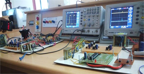 Prototype test setup of BLDC drive with different speeds and two output voltage balancing