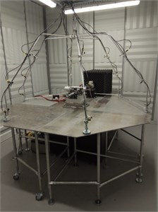 View of the laboratory stand during conducted tests  of the acoustic emission level of the electric power steering column
