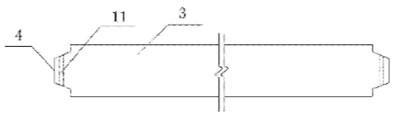 Diagram of assembled frame beam column with vertical joints: 1 – precast column; 2 – bracket;  3 – precast beam; 4 – Protrusion; 5 – groove; 6 – bracket bolt hole; 7 – bolt; 8 – bolt backing plate;  9 – nut; 10 – bonding layer; 11 – bolt hold of precast beam)