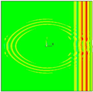 The propagation of straight-crest Lamb waves in the 3D plate with through hole defects