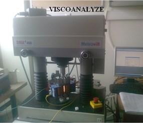 a) Prepared elastomer, b) MetraviB DMA + 450 Viscoanalyser