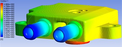 Temperature field of upper valve body