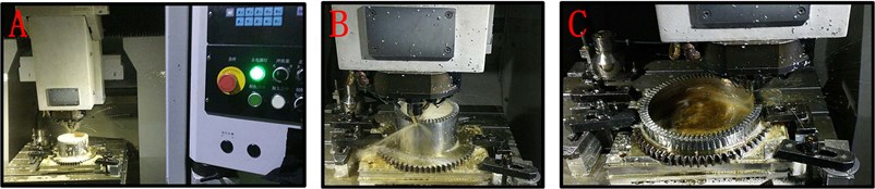 Milling machining: a) of level 1 face gear sample, b) of level 2 face gear sample,  c) of level 3 face gear sample