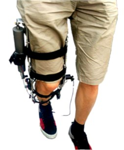The first version of the knee joint powered robotic exoskeleton