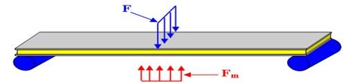 Sandwich beam in composite material (MRE)