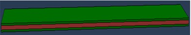 Sandwich beam model in Abaqus: a) mesh element in Abaqus: 2D type CPS4,  b) beam without meshing, c) beam with meshing
