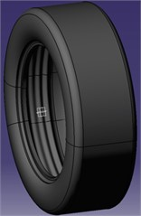 CAD model of tire with three rubber strips extruded into cavity (source from  Sainty et al., 2012 [103], Fig. 6; reprinted  with permission from ASME)