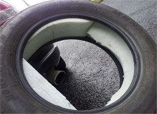 Testing tire filled with PU foam prior to wheel rim and tire assembling (source  from Sainty et al., 2012 [103], Fig. 7;  reprinted with permission from ASME)