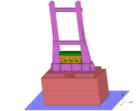 A FEM model of the second experiment-demolition equipment  with a 150 mm layer of orthotropic material