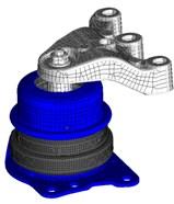 FE models of mounts: a) engine, b) gearbox, c) torque rod