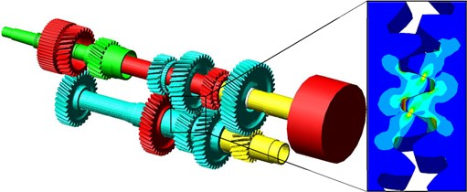 Gearbox concept and gear mesh Von Mises stress distribution for one gear pair