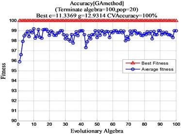 GA optimization c, g parameter results