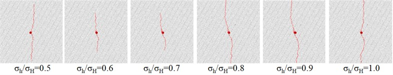 The propagation path of the hydraulic fracture under different conditions