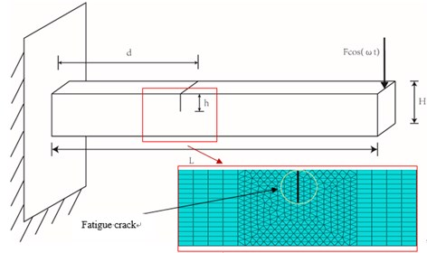 Cantilever beam model with fatigue crack