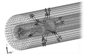 A sketch of the rigid-flexible model for projectile-barrel interaction