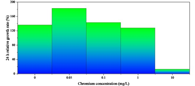 The effect of chromium on the relative growth rate of P. helgolandica in 24 h