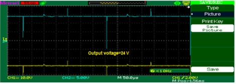 Output voltage C02: a) experimental, b) simulation, c) chart at 800 W/m2