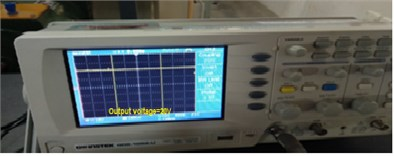 Output voltage waveform of DC-DC: a), b) experimental,  c) simulation of converter, d) chart at 600 W/m2