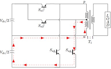 Working principle of the proposed topology: a) path for output voltage =+Vdc/2, b) path for  output voltage =+Vdc/4, c) path for output voltage =-Vdc/2, d) path for output voltage =-Vdc/4