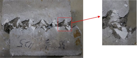 a) The sawtooth of B-3, b) tensile failure schematic,  c) profiles and degraded surfaces for specimen B-3