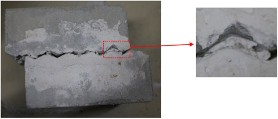 a) The sawtooth of A-1, b) sliding failure schematic,  c) profiles and degraded surfaces for specimen A-1